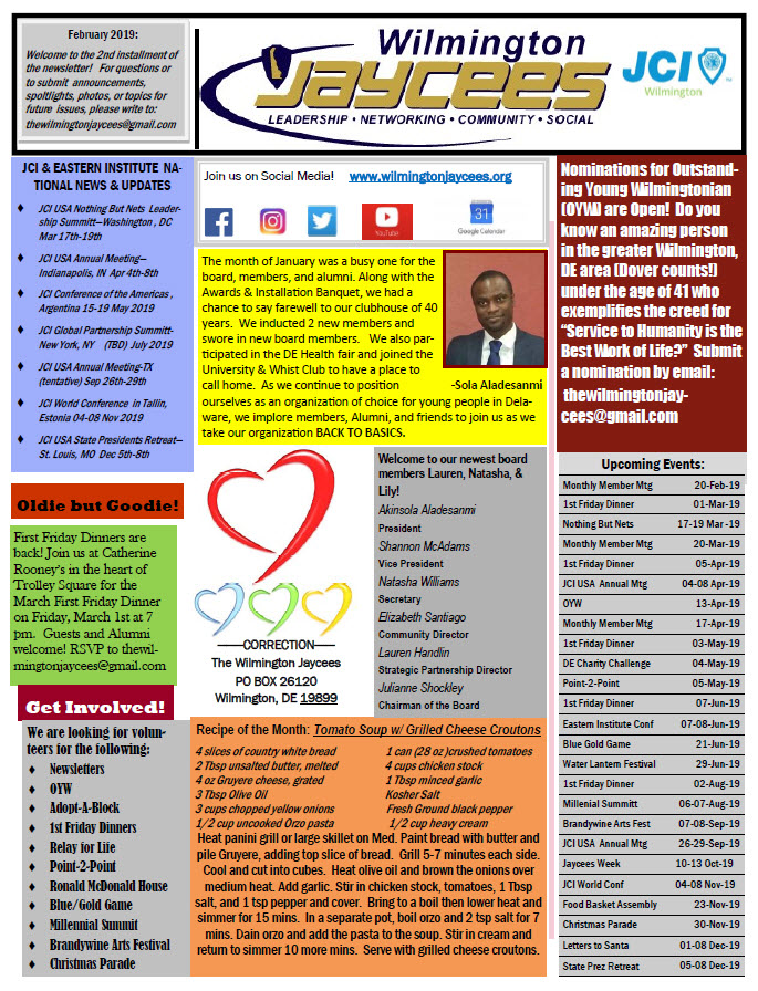 Page 1 - February 2019 Newsletter