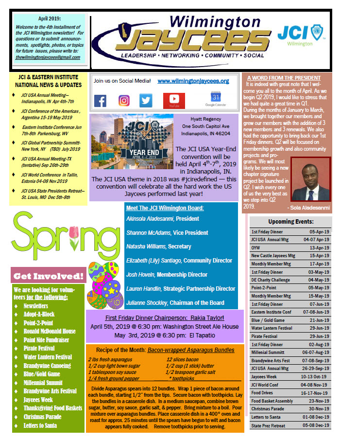 Page 1 - April 2019 Newsletter